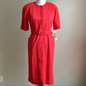Vintage Red Button Down Belted Midi Sheath Dress